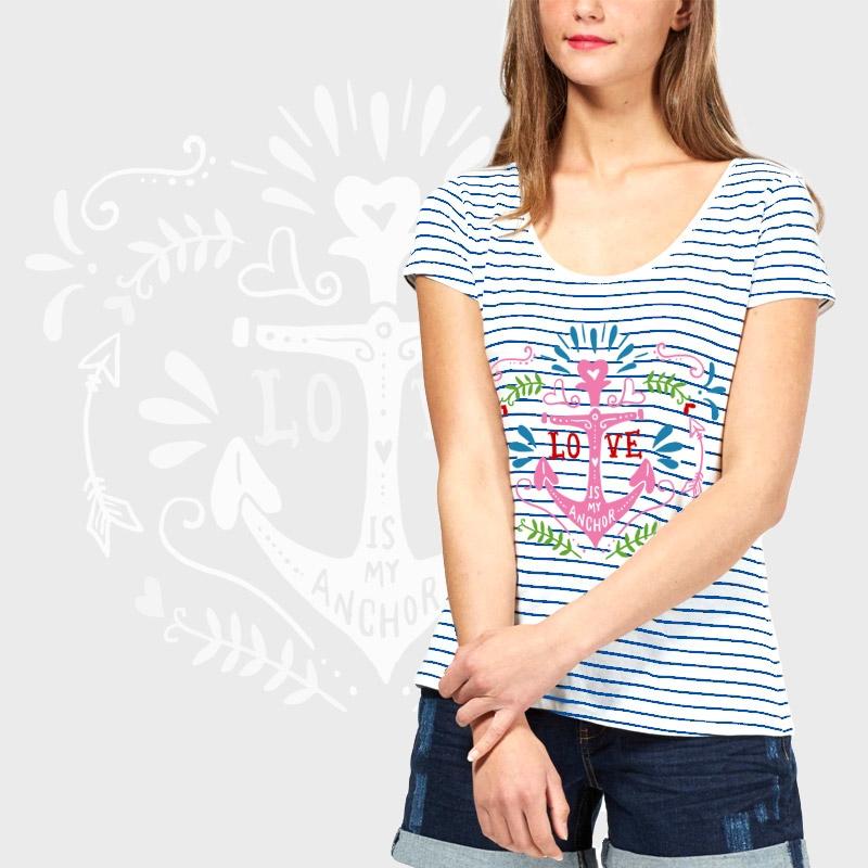 7937e70890f Camiseta mujer manga corta a rayas personalizada, comprar online