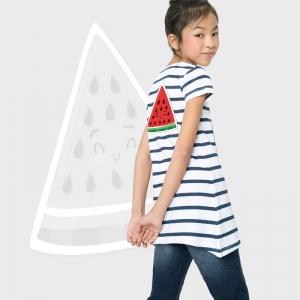 Camiseta niña manga corta a rayas personalizada