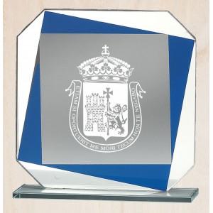 Cristal óptico con detalle azul y blanco