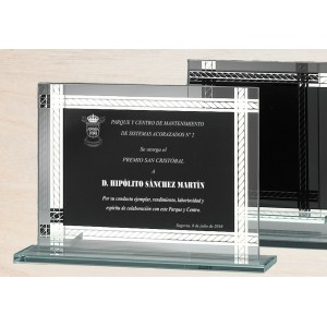 Cristal óptico rectangular con borde blanco e interior negro