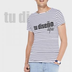 Camiseta manga corta a rayas personalizada