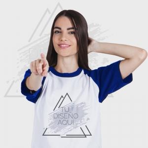 Camiseta mujer manga corta bicolor personalizada