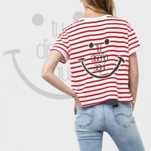 Camiseta mujer manga corta a rayas personalizada