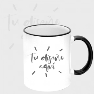 Taza borde y mango color personalizada