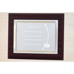 Estuche economico con madera y placa personalizada con linia azul