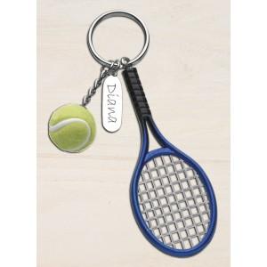 Llavero con raqueta y pelota de tenis